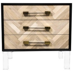 Modern Bleached Walnut Herringbone Side Table, Lucite Legs and Pulls, Black Case