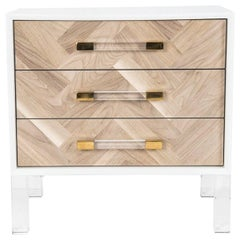 Modern Bleached Walnut Herringbone Side Table, Lucite Legs and Pulls, White case