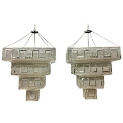Pair Of Contemporary Monumental Silver Steel Moroccan Style Chandeliers