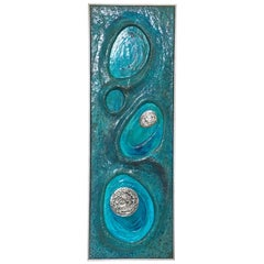 Lorraine Stelzer 1969 Psychedelic Turquoise Acrylic Resin Wall Sculpture Panel