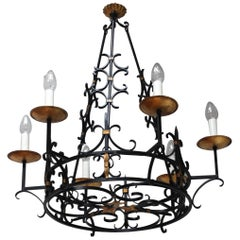 1950s French Iron and Gilt Large Chandelier