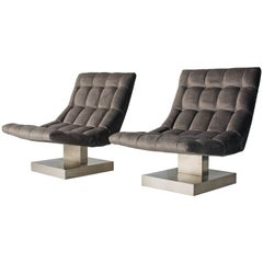 Pair of Milo Baughman Cantilevered Lounge Chairs