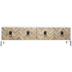 Modern Credenza Hand-Cut Walnut Chevron Detail & Lion Head Hardware, White Case