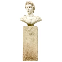 20th Century Cast Stone Carved Life Size Bust of Caesar & Pedestal