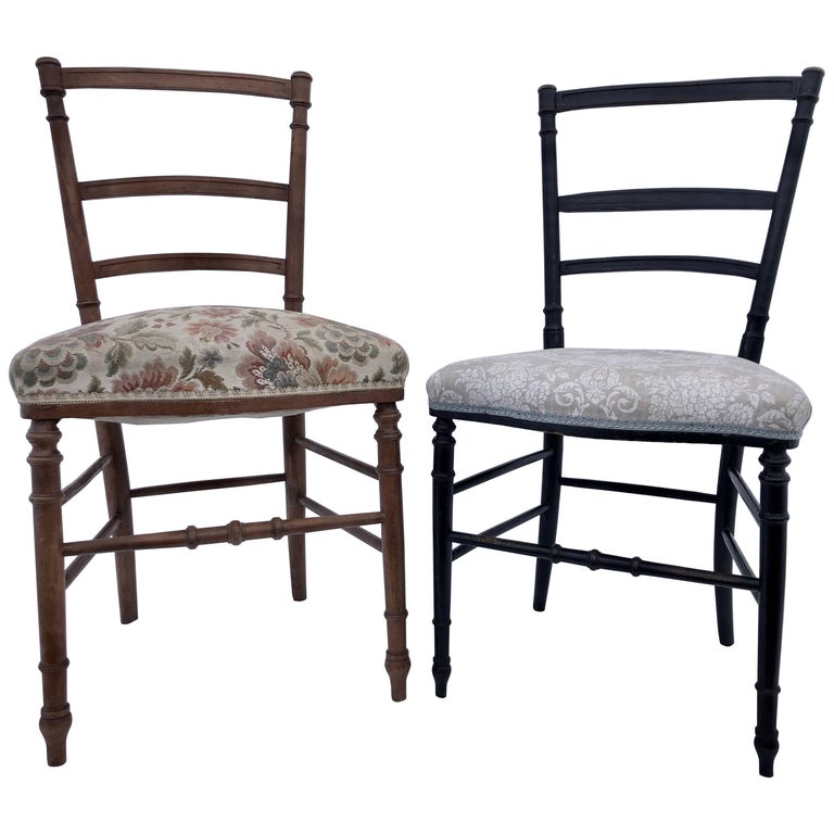Set of Two Wood Hand-Carved Upholstered Chairs in a Bamboo Style, Napoleon III