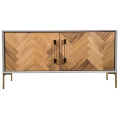 Modern Two-Door Credenza in Walnut with Brass and Lucite hardware Greystone Case