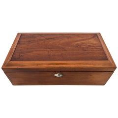 French Mahogany Box with It's Key and Mother-of-Pearl Decorated Key Hole, 1800s