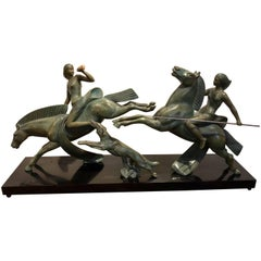 French Art Deco Amazonian Diana Horsewomen with Borzoi Dog Large Bronze