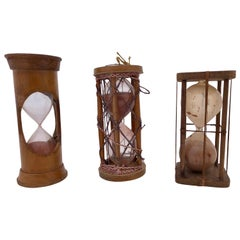 Set of 3 Maritime Sand Timers from the 18th and 19th Century, Hand Blown Glass