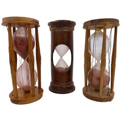 Set of Three Wood and Handblown Glass Maritime Sand Timers, 18th-19th Century