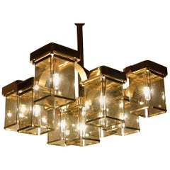 Nine-Light Brass and Smoked Glass Ceiling Fixture by Sciolari, Italy, 1960s