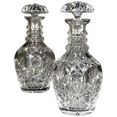 Pair of Mid-19th Century Anglo Irish Cut-Glass Decanters with Mushroom Stoppers