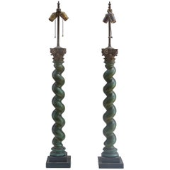 Neoclassical Revival Carved Barley Twist Corinthian Column Table Lamps, Pair