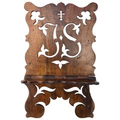 French Foldable Hand-Carved Wood Easel with Cross and Initials 'JS', Early 1900s