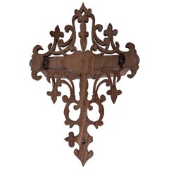 Detailed Hand-Carved Wood Wall Sconce with One Shelf