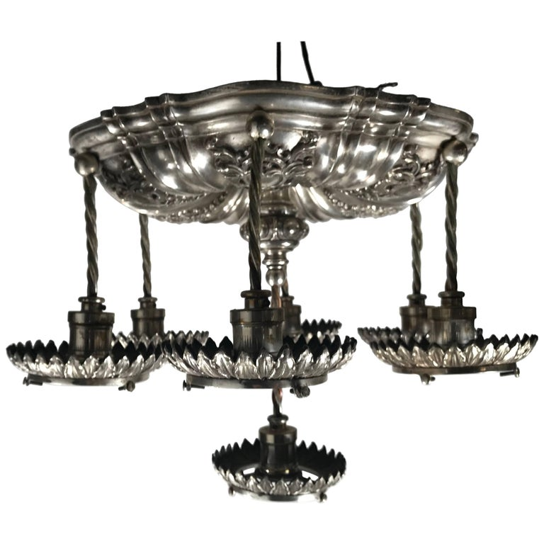 Silver Plated Neoclassic Style Caldwell Pendant Chandelier, circa 1920s