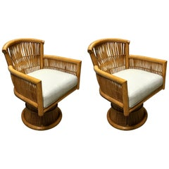 Pair of Albini Style Rattan and Bamboo Swivel Chairs