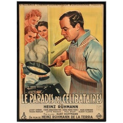 Framed French Movie Poster, 1940 German Comedy 'Le Paradis Des Célibataires'