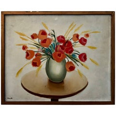 Oil Painting on Wood with Red Flowers in a Vase on a Table by Maurice Esnault