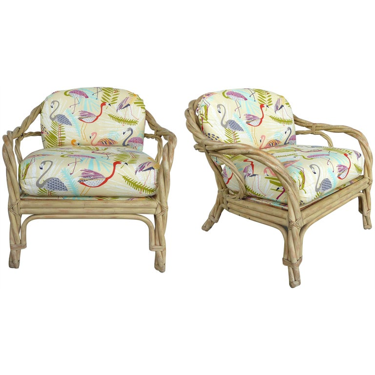 Twisted Rattan Lounge Chairs Attributed to McGuire, a Pair