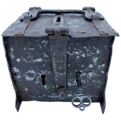French Handwrought Locking Offering Box with 2 Keyholes and 1 Key, 16th Century