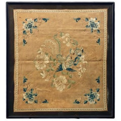 Framed Chinese Silk Embroidery of Two Birds in Blue, Green, Cream, Peach