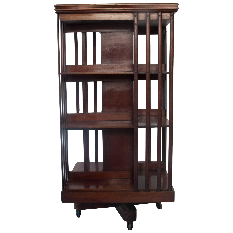 Victorian Mahogany Revolving Library Bookshelf At 1stdibs
