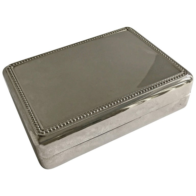 Silver Plate Box with Blue Interior