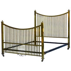 Antique Brass Bed Maple & Co US Queen UK King size, English, circa 1900
