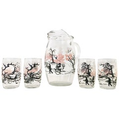 Vintage Chinoiserie Style Printed Glass Drinks S/5