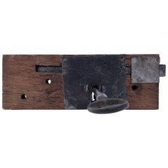French Hand-Wrought Iron Mortise Mount Lock with Key on Wood Base, 1700s-1800s
