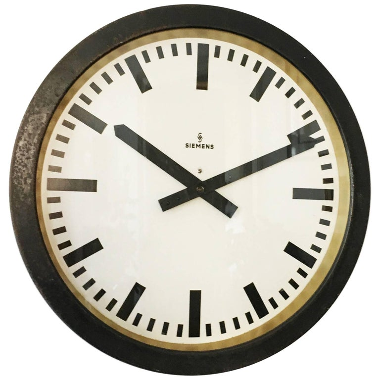 Large Siemens Factory Industrial or Station Wall Clock