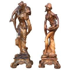 Vintage Chinoiserie Male and Female Statuary from Palm Springs Celebrity Estate