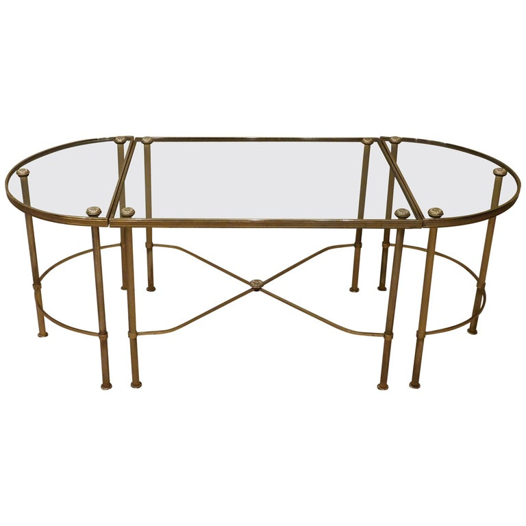 Oblong Three-Part Brass and Glass Coffee Table, France, circa 1940