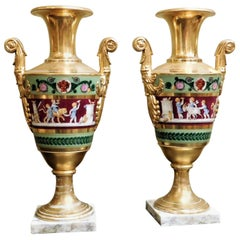 Large Pair of Old Paris Empire Porcelain Vases, Paris, circa 1810