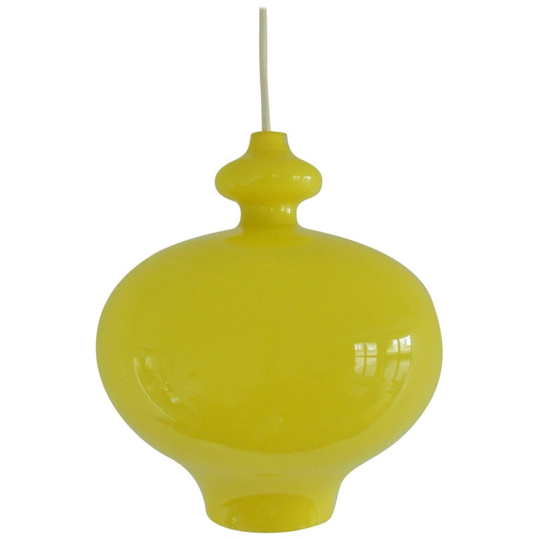 Yellow Glass Pendant Lamp by Hans Agne Jakobsson, Made in Sweden, 1960s