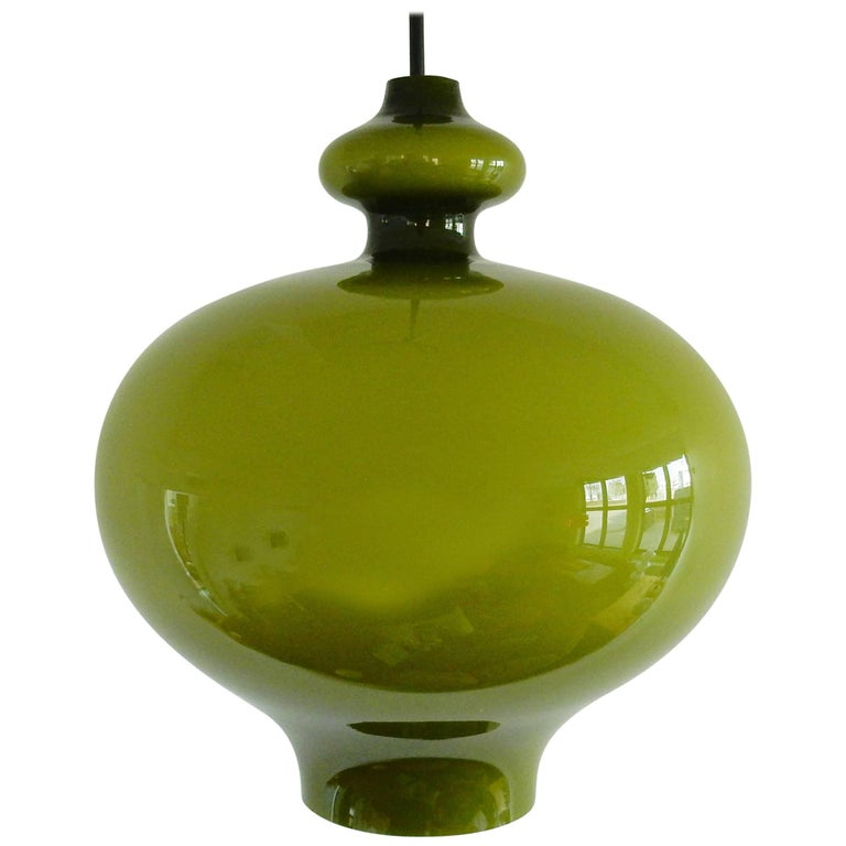 Green Glass Pendant Lamp by Hans-Agne Jakobsson, Sweden, 1960s