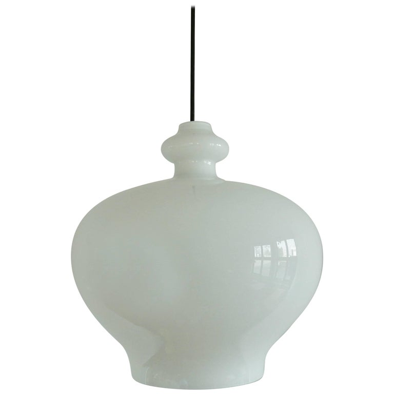 Large Size White Glass Pendant by Hans-Agne Jakobsson for Markaryd, Sweden