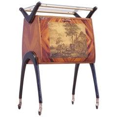 Italian 1950s Shellac Exotic Wood & Ebonized Wood with Brass Trolley Bar Scenery