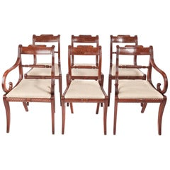 Fine Set of Six Antique Regency Mahogany Dining Chairs
