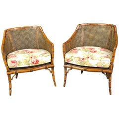 Pair of Bergères Armchairs of Solid Beechwood Imitating Bamboo with Caned Backs
