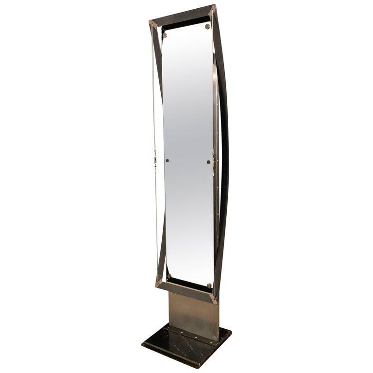 Large Custom Curved Industrial Style Steel Mirror
