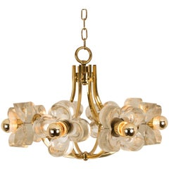 Midcentury Ice Glass and Brass Flower Lamp by J.T. Kalmar for Mazzega