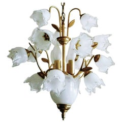 Vintage Italian Brass and Murano Glass Tulip Bouquet Chandelier