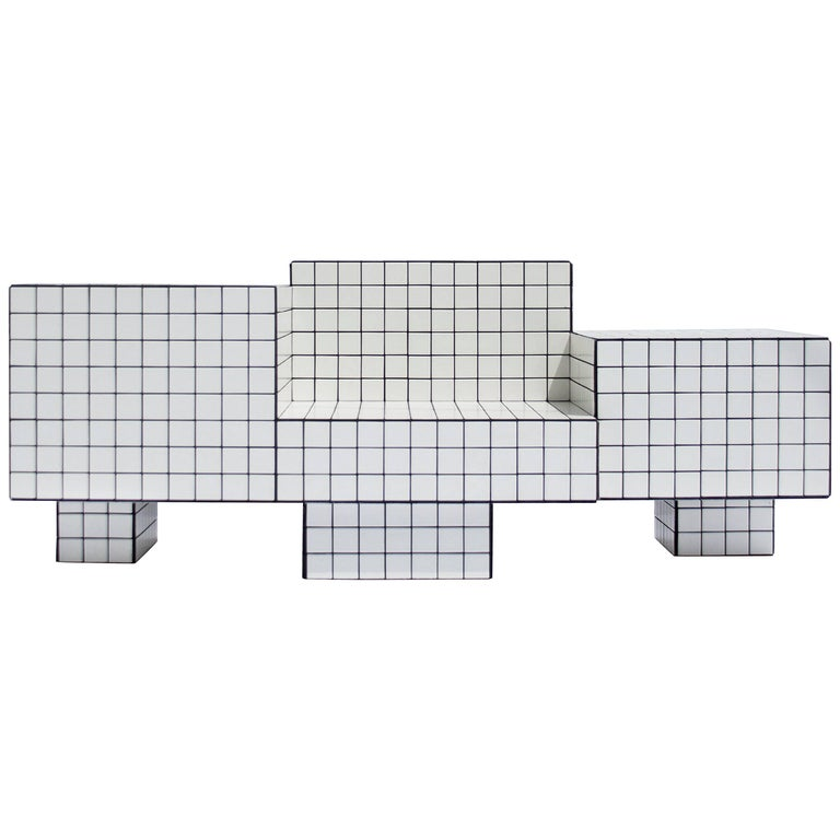 Contemporary TS I Limited Edition Lounge Seat with Tiles, Wood and Black Grout For Sale