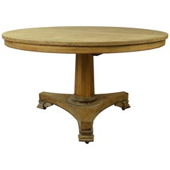 Large Round Antique Pine Dining Table, English Regency