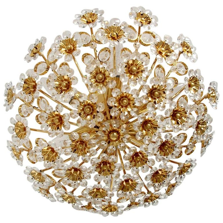 Beautiful Gold-Plated Chandelier Flush Mount by Palwa, 1960s