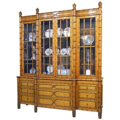 Superior 19th Century English Faux Bamboo and Birdseye Maple Breakfront Bookcase