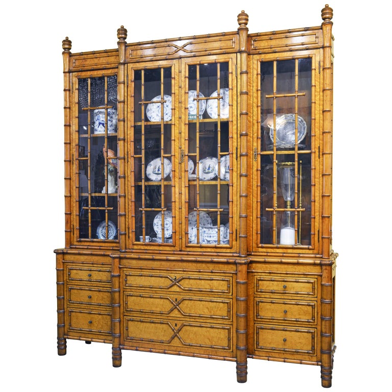 Superior 19th Century English Faux Bamboo and Birdseye Maple Breakfront Bookcase For Sale