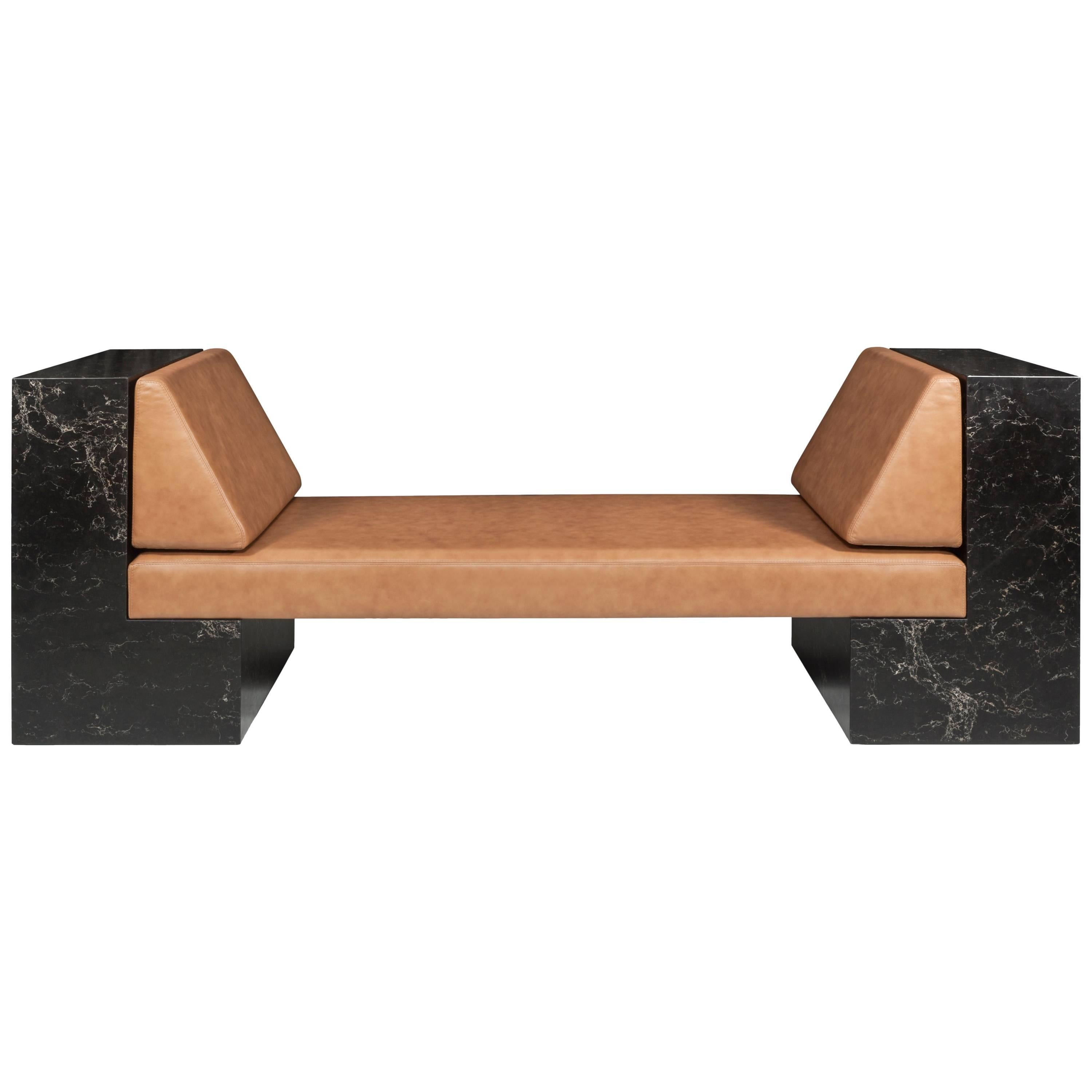 Contemporary INI Daybed in Caesarstone and Leather